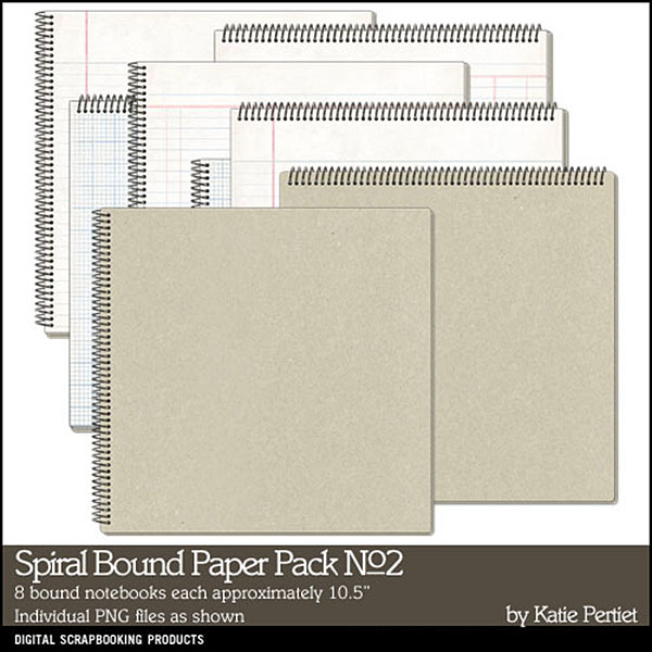 Spiral Bound Paper Pack 02 Digital Art - Digital Scrapbooking Kits
