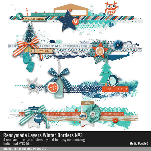 Readymade Layers Winter Borders 03 Digital Art - Digital Scrapbooking Kits