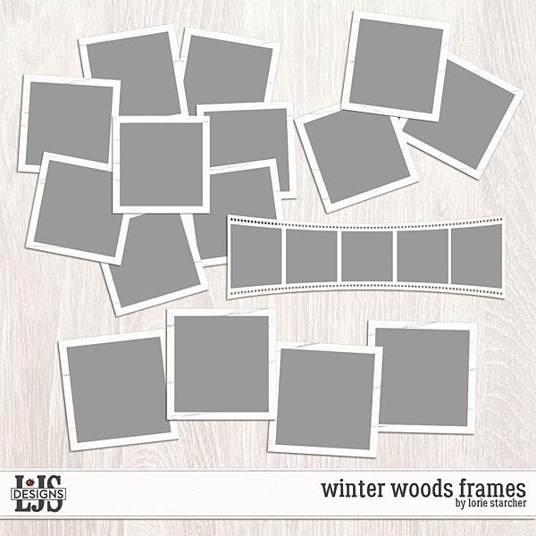 Winter Woods Frames Digital Art - Digital Scrapbooking Kits