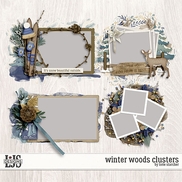 Winter Woods Clusters Digital Art - Digital Scrapbooking Kits