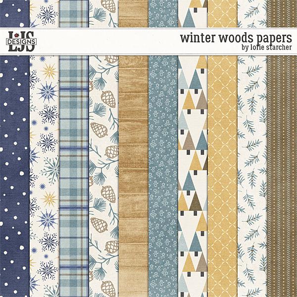 Winter Woods Papers Digital Art - Digital Scrapbooking Kits