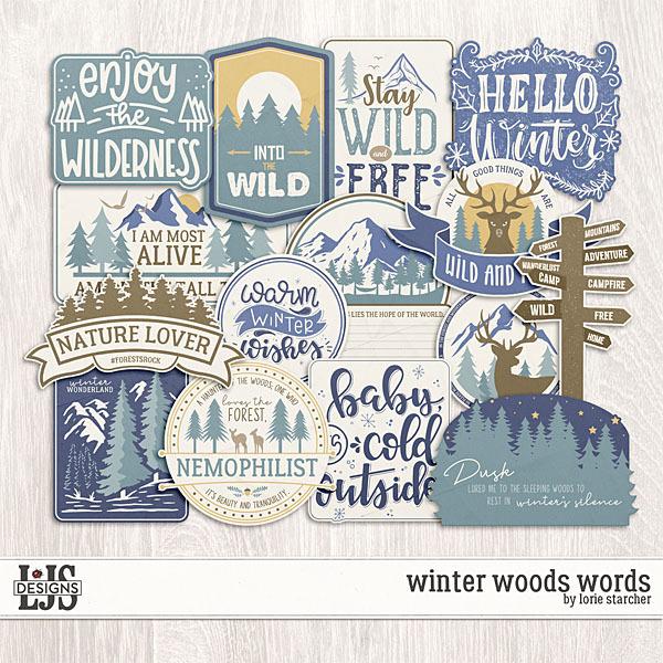 Winter Woods Words Digital Art - Digital Scrapbooking Kits
