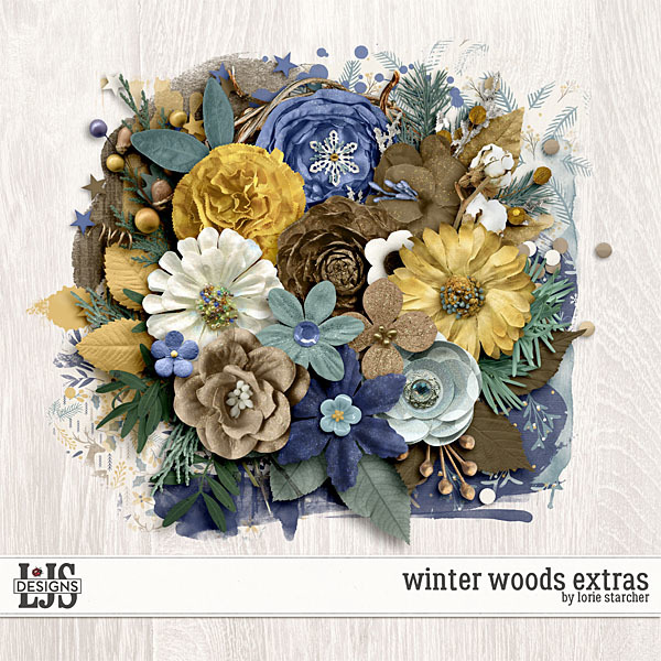 Winter Woods Extras Digital Art - Digital Scrapbooking Kits