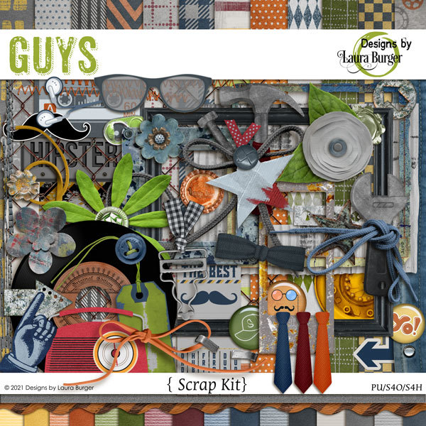 Guys Scrap Kit Digital Art - Digital Scrapbooking Kits
