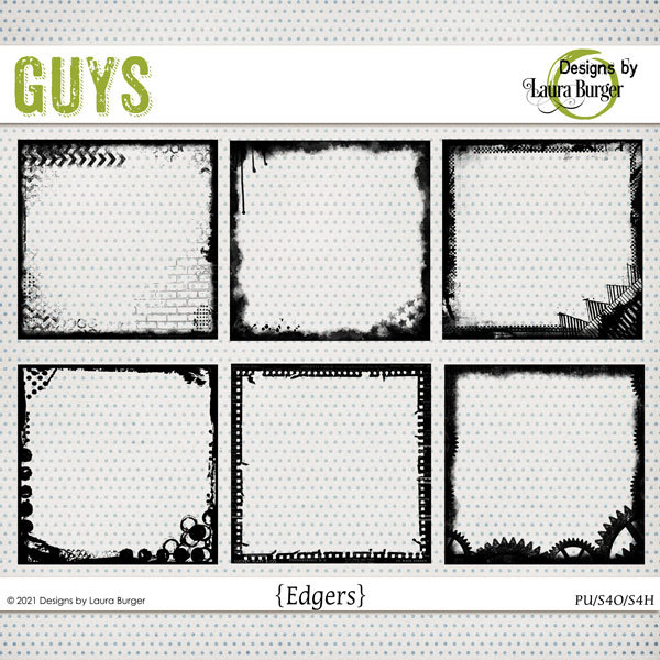 Guys Edgers Digital Art - Digital Scrapbooking Kits