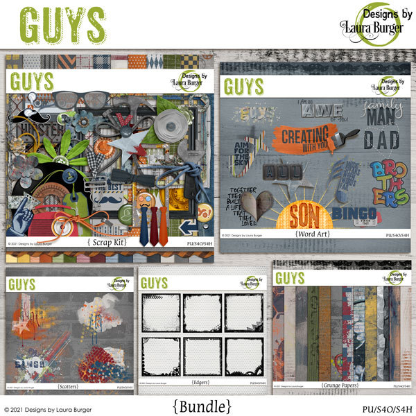 Guys Bundle Digital Art - Digital Scrapbooking Kits