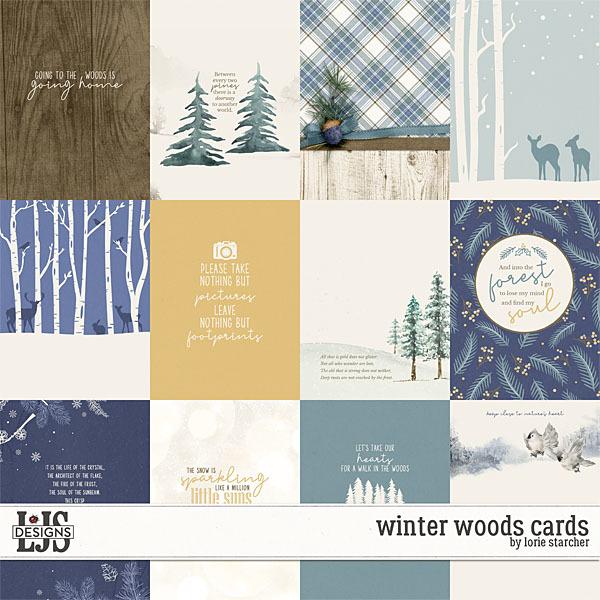 Winter Woods Cards Digital Art - Digital Scrapbooking Kits
