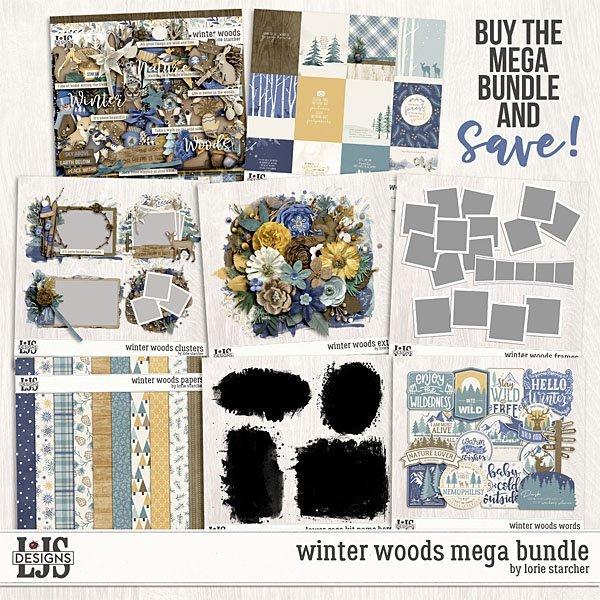 Winter Woods Mega Bundle Digital Art - Digital Scrapbooking Kits