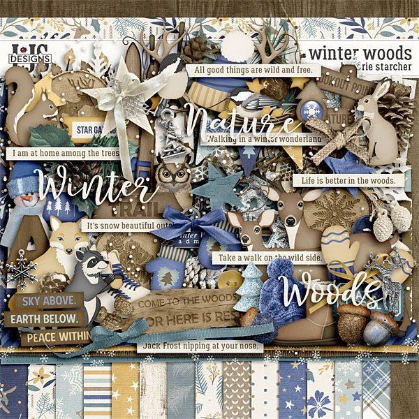 Winter Woods Digital Art - Digital Scrapbooking Kits