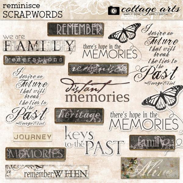 Reminisce Scrap.Words Digital Art - Digital Scrapbooking Kits