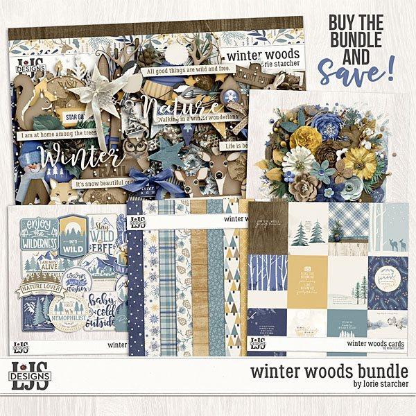 Winter Woods - Bundle Digital Art - Digital Scrapbooking Kits