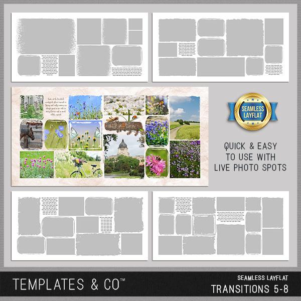 Seamless Layflat Transitions 5-8 Digital Art - Digital Scrapbooking Kits