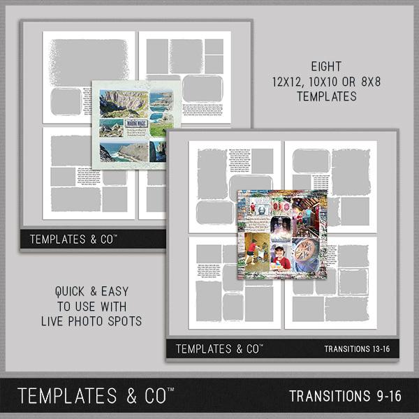 Transitions 9-16 Digital Art - Digital Scrapbooking Kits