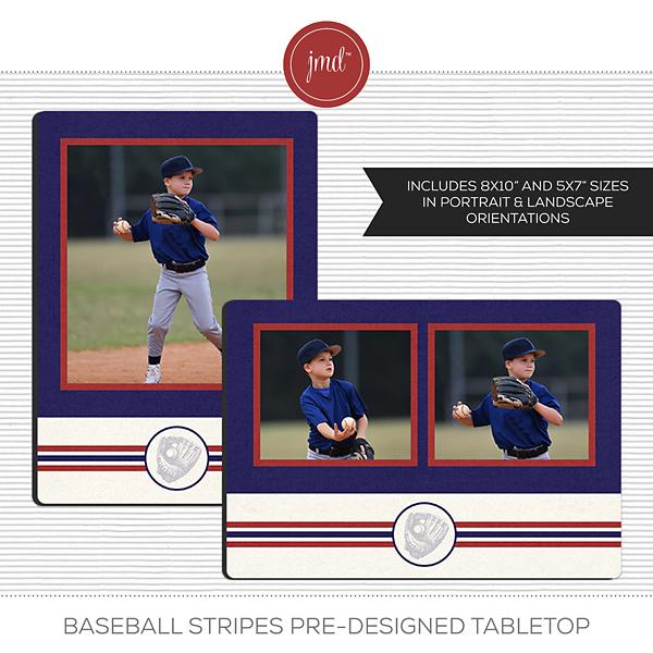Baseball Stripes Pre-Designed Tabletop Digital Art - Digital Scrapbooking Kits