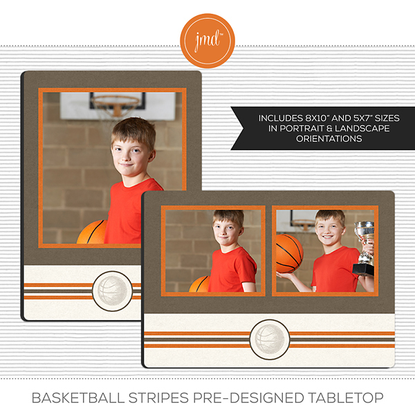 Basketball Stripes Pre-Designed Tabletop Digital Art - Digital Scrapbooking Kits