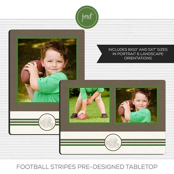 Football Stripes Pre-Designed Tabletop Digital Art - Digital Scrapbooking Kits