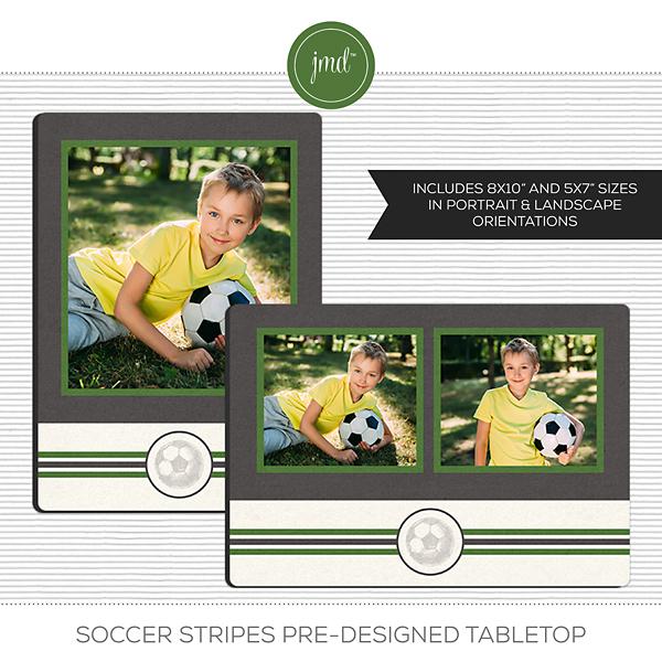 Soccer Stripes Pre-Designed Tabletop Digital Art - Digital Scrapbooking Kits