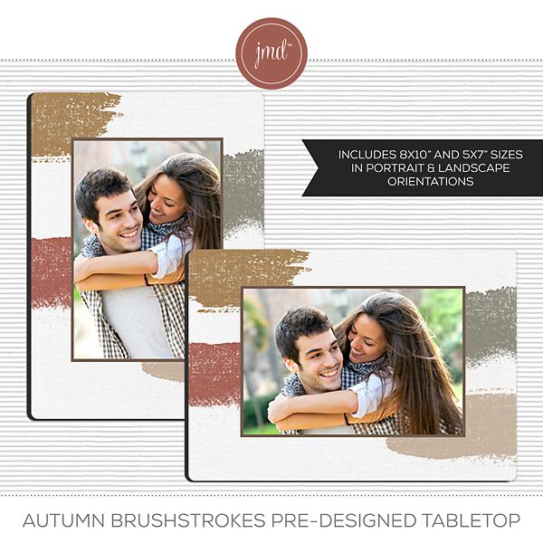 Autumn Brushstrokes Pre-Designed Tabletop Digital Art - Digital Scrapbooking Kits