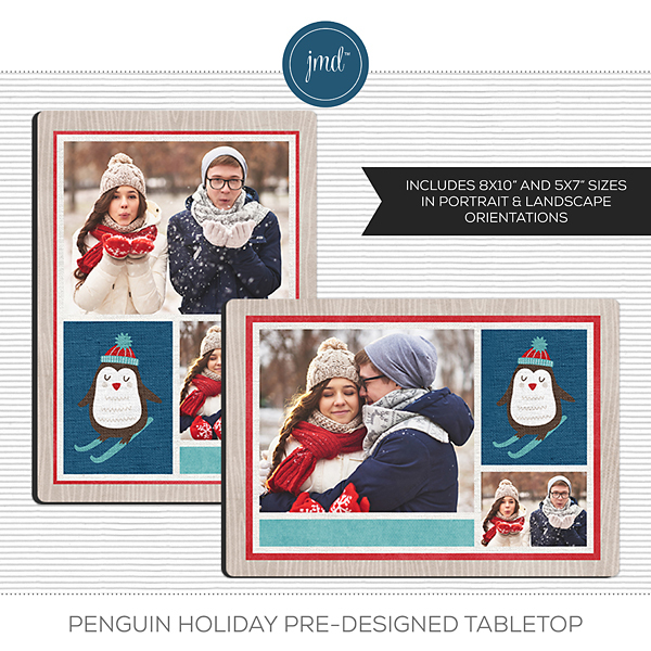 Penguin Holiday Pre-Designed Tabletop Digital Art - Digital Scrapbooking Kits