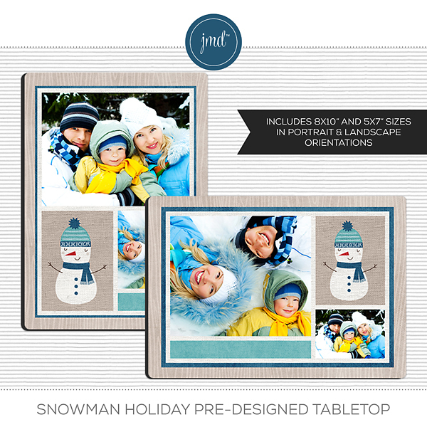 Snowman Holiday Pre-Designed Tabletop Digital Art - Digital Scrapbooking Kits