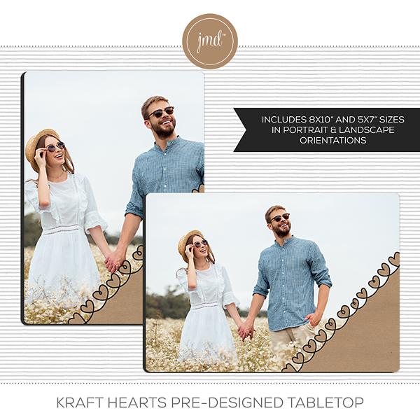 Kraft Hearts Pre-Designed Tabletop Digital Art - Digital Scrapbooking Kits