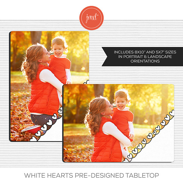 White Hearts Pre-Designed Tabletop Digital Art - Digital Scrapbooking Kits