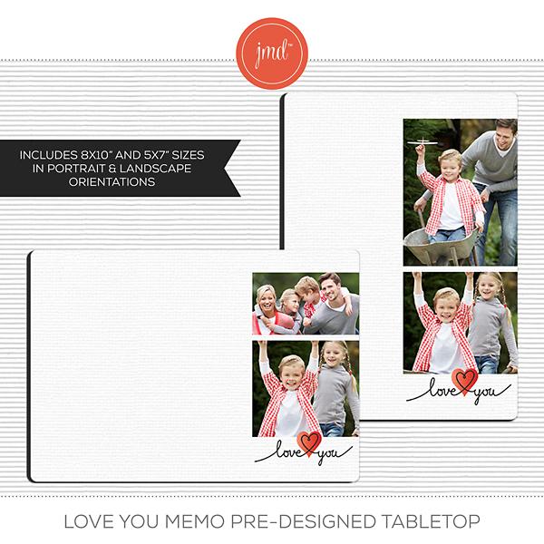 Love You Memo Pre-Designed Tabletop Digital Art - Digital Scrapbooking Kits