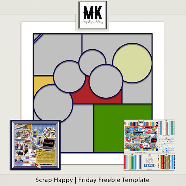 Scrap Happy Friday Freebie Template Digital Art - Digital Scrapbooking Kits