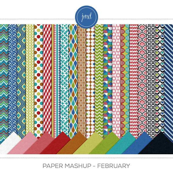 Paper Mashup - February Digital Art - Digital Scrapbooking Kits