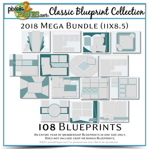 Classic Blueprint Collection 2018 - Mega Bundle (11x8.5) Digital Art - Digital Scrapbooking Kits