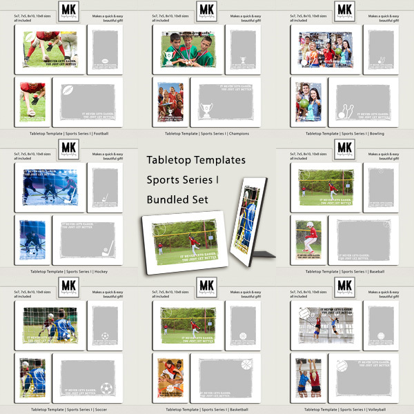Tabletop Template - Sports Series I - Bundle Digital Art - Digital Scrapbooking Kits