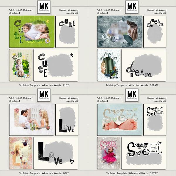 Tabletop Template - Whimsical Words - BUNDLE Digital Art - Digital Scrapbooking Kits
