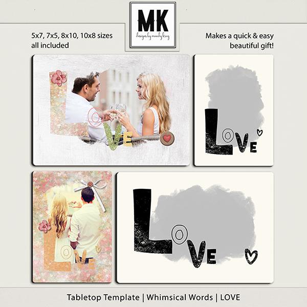Tabletop Template - Whimsical Words - LOVE Digital Art - Digital Scrapbooking Kits