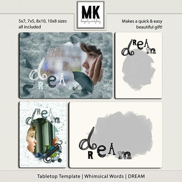 Tabletop Template - Whimsical Words - DREAM Digital Art - Digital Scrapbooking Kits