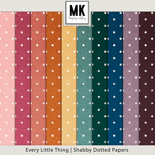 Every Little Thing Collection Shabby Dots Papers Digital Art - Digital Scrapbooking Kits