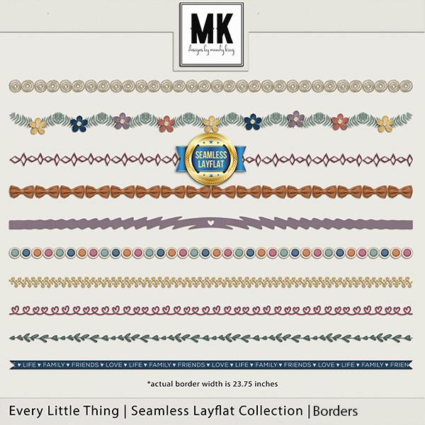 Every Little Thing Seamless Layflat Borders Digital Art - Digital Scrapbooking Kits