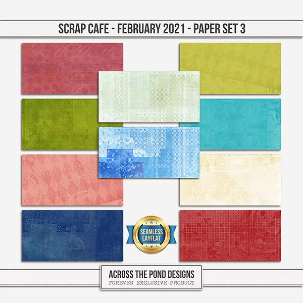 Scrap Cafe - February 2021 - SLF Paper Set 3 Digital Art - Digital Scrapbooking Kits