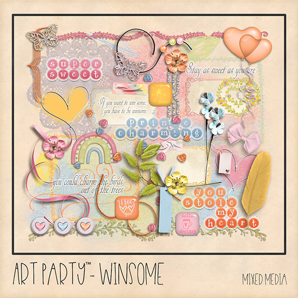 Winsome Mixed Media Embellishments Digital Art - Digital Scrapbooking Kits