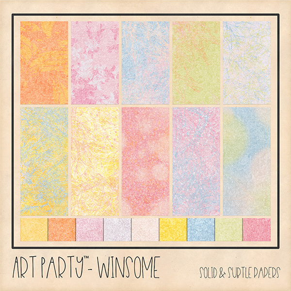 Winsome Solid & Subtle Papers Digital Art - Digital Scrapbooking Kits