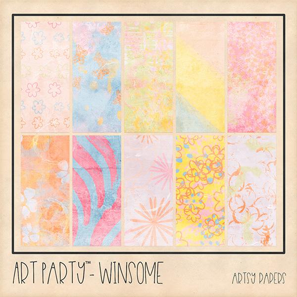 Winsome Artsy Papers Digital Art - Digital Scrapbooking Kits