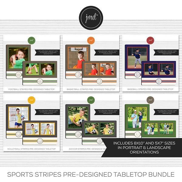 Sports Stripes Pre-Designed Tabletop Bundle Digital Art - Digital Scrapbooking Kits