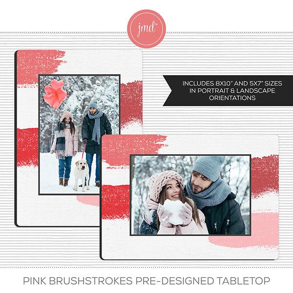 Pink Brushstrokes Pre-Designed Tabletop Digital Art - Digital Scrapbooking Kits