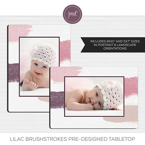 Lilac Brushstrokes Pre-Designed Tabletop Digital Art - Digital Scrapbooking Kits