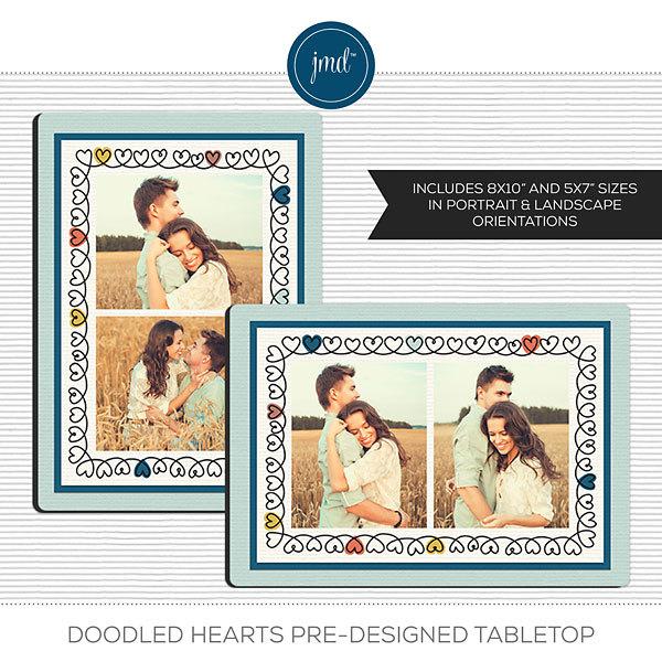 Doodled Hearts Pre-Designed Tabletop Digital Art - Digital Scrapbooking Kits