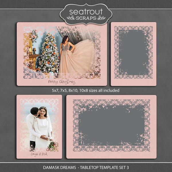 Damask Dreams - Tabletop Template Set 3 Digital Art - Digital Scrapbooking Kits