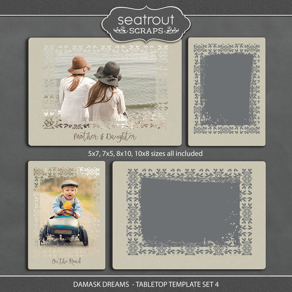Damask Dreams - Tabletop Template Set 4 Digital Art - Digital Scrapbooking Kits