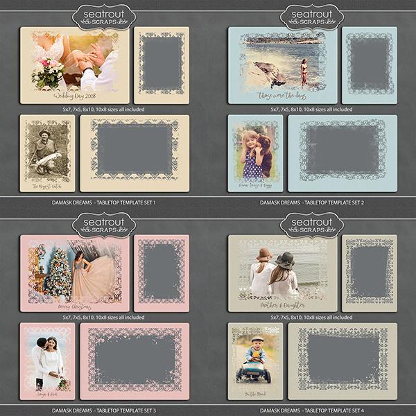 Damask Dreams - Tabletop Template Set Bundle Digital Art - Digital Scrapbooking Kits