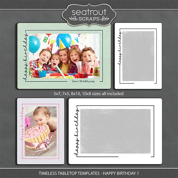 Timeless Tabletop Templates - Happy Birthday 1 Digital Art - Digital Scrapbooking Kits