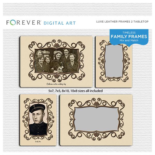 Luxe Leather Frames 2 Tabletop Digital Art - Digital Scrapbooking Kits