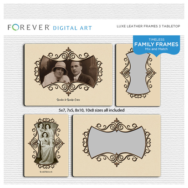 Luxe Leather Frames 3 Tabletop Digital Art - Digital Scrapbooking Kits